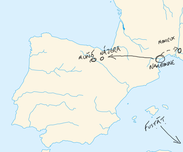 map of potential routes of the proselyte fleeing persecution