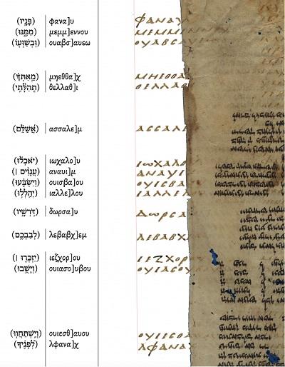 reconstructed Hexapla, 2nd column