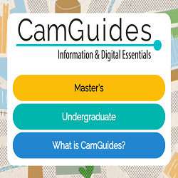Text in bubbles advertising that CamGuides is suitable for undergraduates and taught Master's students