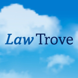 Blue sky behind Law Trove logo