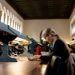 A student works in the Reading Room