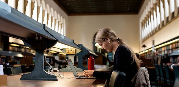 Student in main reading room