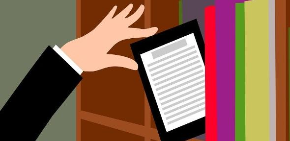 Colourful graphic showing a shelf of books and a hand taking a tablet from the shelf
